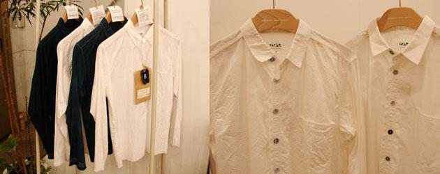 券付きシャツ、くるみボタンシャツ